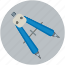 compass point, compass shape, compass tool, design, drafting, drawing icon