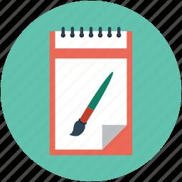art work, brush, design brush, hand designing, pad with brush, writing pad icon