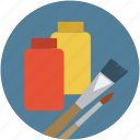 brush, color lid jar, colors, jar of colors, paint jar, paint jar with brush icon