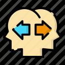 conflict, design, different, idea, thinking icon