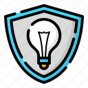 creative, design, idea, shield, thinking icon