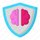 brain, design, idea, shield, thinking icon