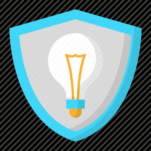 creative, design, idea, shield, thinking icon