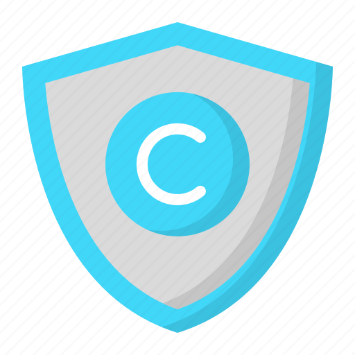 copyright, design, shield, thinking icon