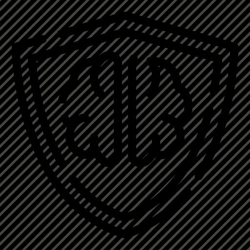 brain, creative, design, shield, thinking icon
