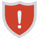 protection, safety, security, shield, warning icon