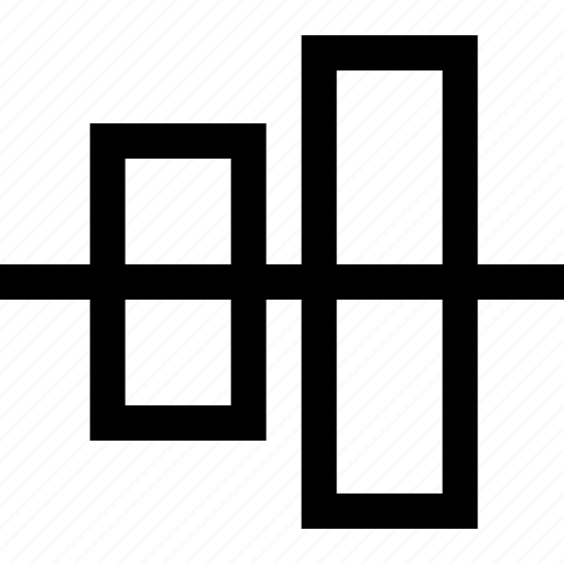 align, design, graphics, horizontal, middle icon