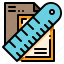 document, pencil, ruler icon