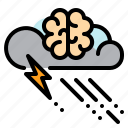 brain, rain, storm, thunder, tinking, weather icon