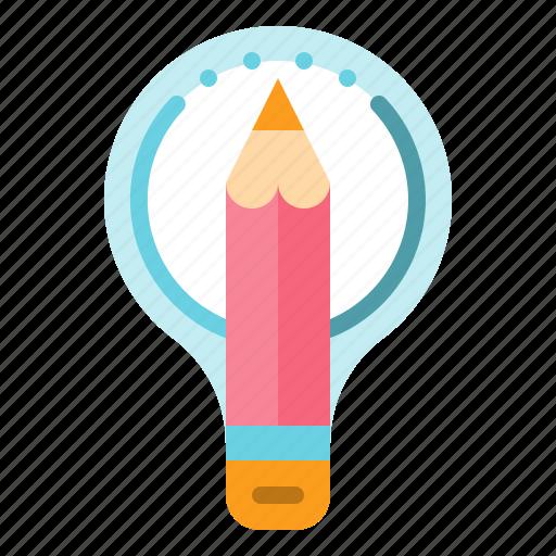 creativity, idea, pencil, think icon
