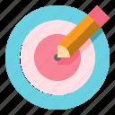 chart, pencil, pie, presentation, target