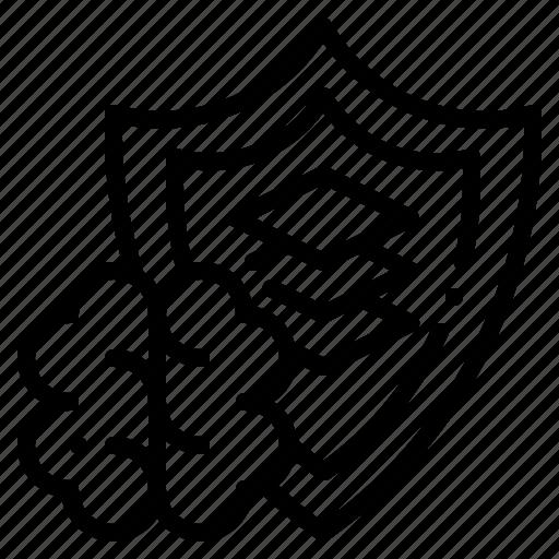 brain, design, graphic, shield, thinking icon