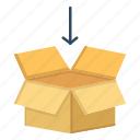 arrow, box, education, shepping icon