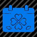 calendar, clover, day, leaf, patricks icon