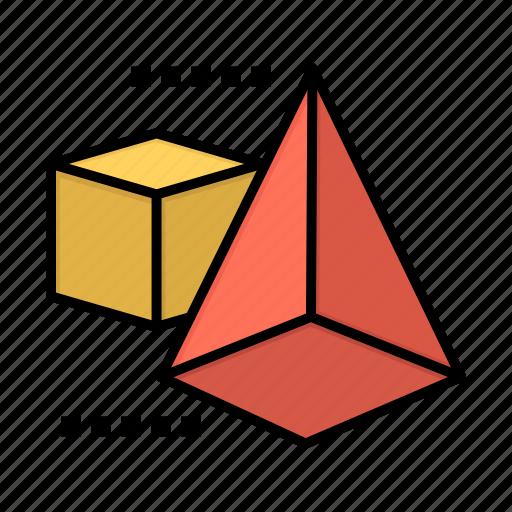 3d, box, model, triangle icon