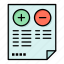 cons, document, minus, plus, pros icon