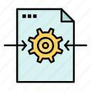 arrow, file, gear, setting icon