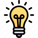 bulb idea, creative, creativity, design, innovation, light, thinking icon