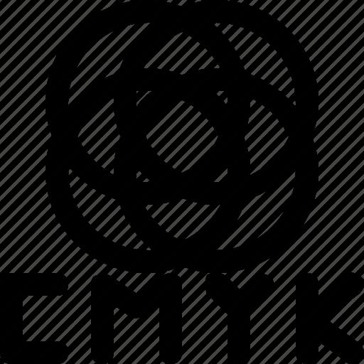 cmyk, color, design icon