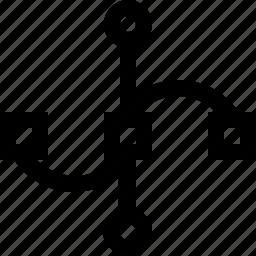 anchor, curve, design, line, path icon