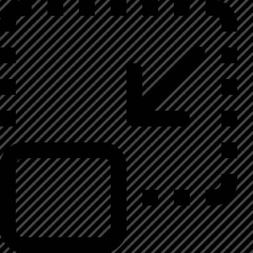 arrow, design, minimize, reduce, square icon