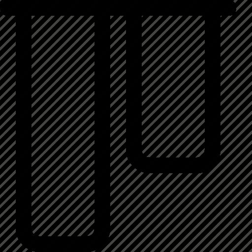 align, design, tool, top, vertical icon