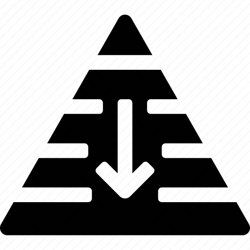 arrow, down, hierarchy, layers, pyramid, rank, structure icon