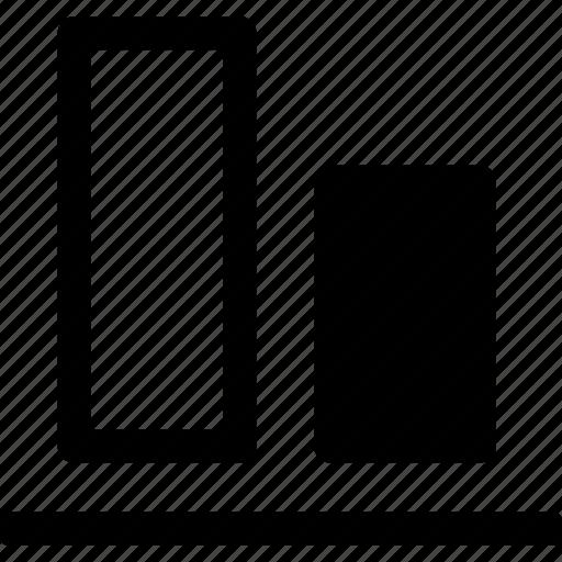 align, arrange, bottom, design, elements, layout, vertical icon