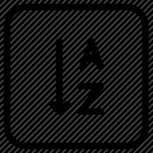 alphabet, alphabetically, arrow, sorting icon