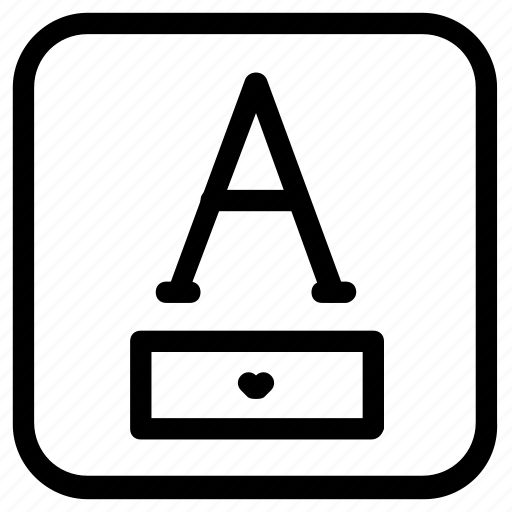 a, font, selection icon