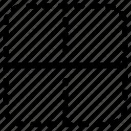 border, horizontal, inside icon