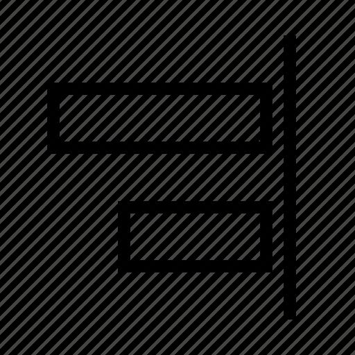 align, arrange, design, graphic, right, tool icon