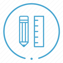 pencil, ruler, school icon