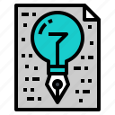 creative, idea, lightbulb, paper, pen icon