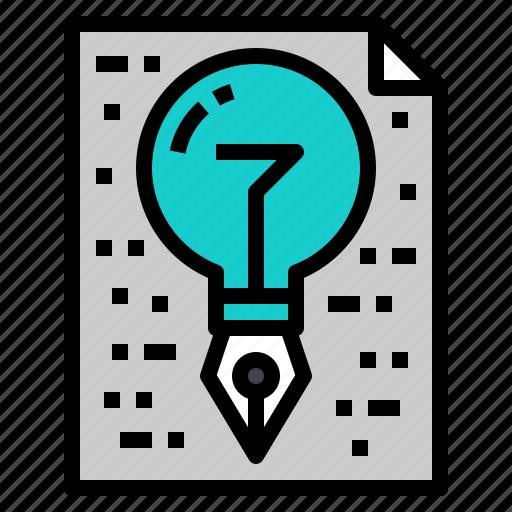 creative, idea, lightbulb, paper, pen icon