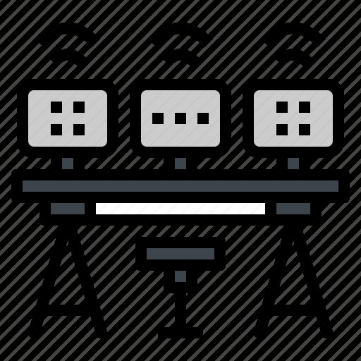 computer, desk, monitor, multiple, table icon
