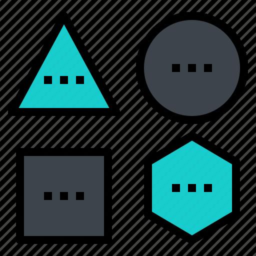 circle, geometric, hexagon, shape, tool icon