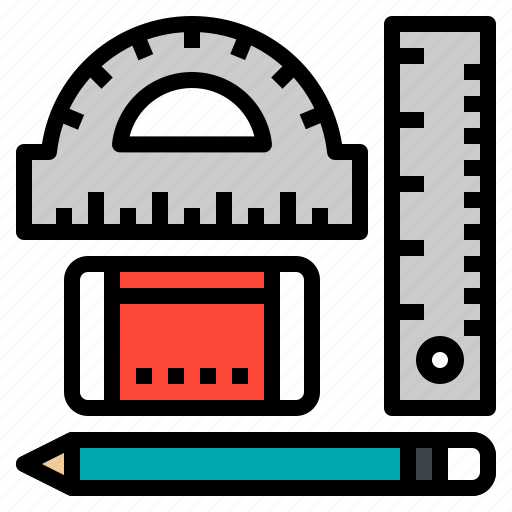 eraser, pencil, ruler, stationary, tool icon