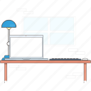computer, desk, laptop, pc, workingspace icon