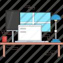 computerdesk, ipad, pc, tech, whitelaptop icon