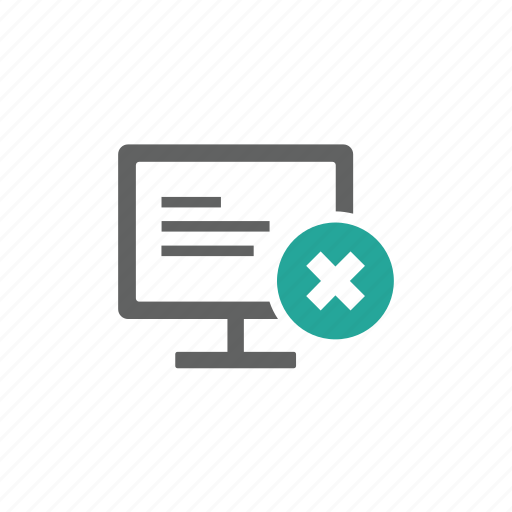 computer, cross, delete, desktop, hardware, remove icon