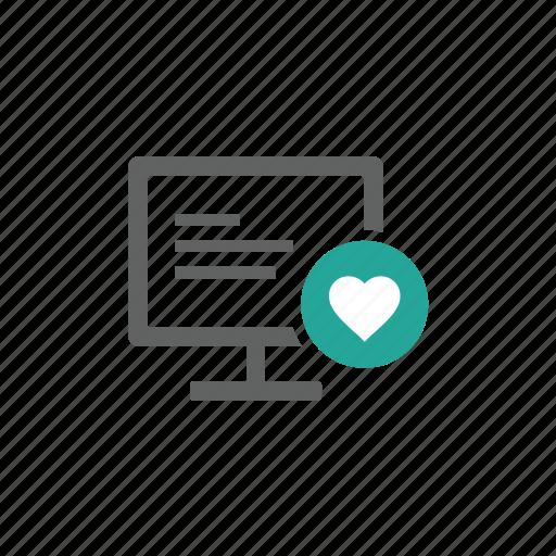 computer, desktop, favorite, hardware, heart, like, love icon