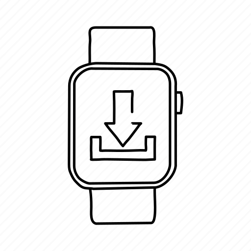 apple watch, devices, download, handdrawn, mobile, screens, watch icon