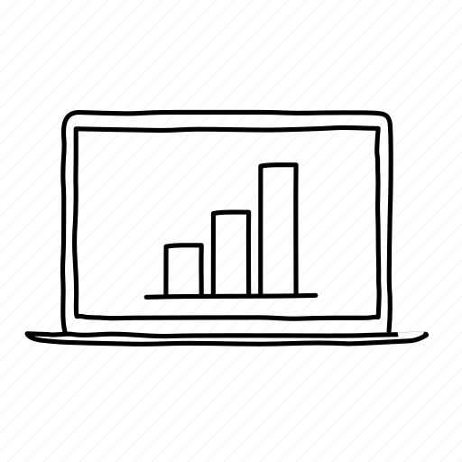 analytics, bar graph, devices, handdrawn, laptop, mobile, screens icon