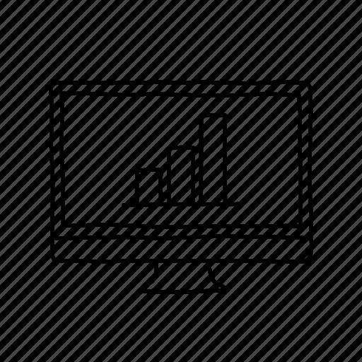analytics, bar graph, data, desktop, devices, handdrawn, screens icon
