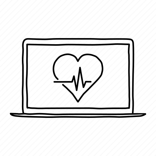 devices, handdrawn, health, heart rate, laptop, mobile, screens icon