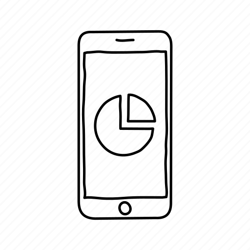devices, handdrawn, iphone, mobile, pie chart, screens, smartphone icon
