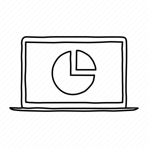 analytics, devices, handdrawn, laptop, mobile, pie chart, screens icon