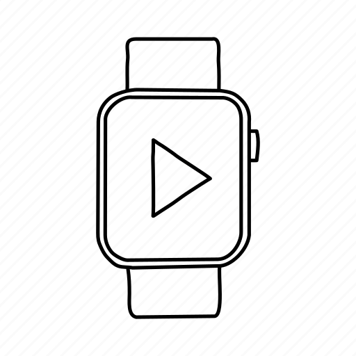 apple watch, devices, handdrawn, media, mobile, play, screens icon