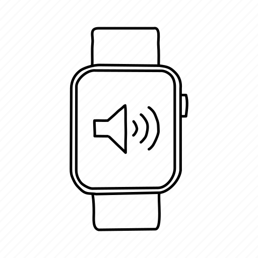 apple watch, audio, devices, handdrawn, mobile, screens, speaker icon